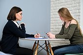 Psychotherapy session at professional psychologist doctor in office