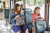 Passengers of city bus, trolleybus sitting on seats