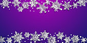 Christmas background with volume paper snowflakes