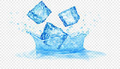 Splash of water of two layers and ice cubes