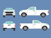 Set of white pickup truck single cab car view on blue background,illustration vector,Side, front, back
