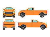 Set of orange pickup truck single cab car view on white background,illustration vector,Side, front, back