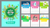 Cartoon Calendar 2021 year with cover