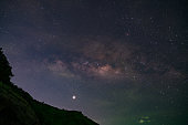 Long exposure Night Photography with Milky way over mountain in phuket thailand.