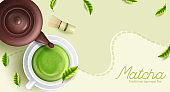 Green matcha tea drink and tea accessories. Japanese tea ceremony concept. Vector illustration