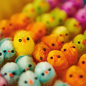 Easter background with vibrant colored tiny Easter chicks