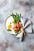 Green asparagus with fried egg, fresh oregano leaves and prosciutto on the plate. Top view.