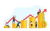 Concept growth business. Teamwork.