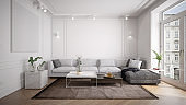 Traditional and vintage living room interior with modern furniture front view