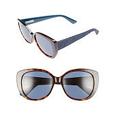 Lady Cat Eye Mirrored Sunglasses Isolated on White Background. Front and Side View of Sun Glasses for Women with Blue Gradient Lenses. Modern Protective Eyewear Shades with Plastic Frames