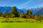 The highest peak of New Zealand, Mount Cook and Mount Tasman is covered in snow and glaciers. Great fields