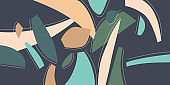 A composition with abstract elements in a popular style. Background for your design.
