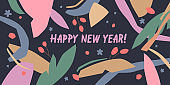 Happy New Year. A composition with abstract elements in a popular style.