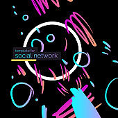Template for social network. Modern poster. Different shapes in Doodle style. Abstract spots and shapes on background.