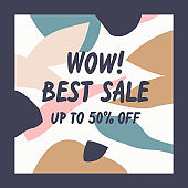 Modern online Sale poster. Different shapes in Doodle style. Abstract spots and shapes on the background.