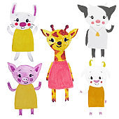 set with five cute cartoon animals: white rabbit, cow, girafee, pig and goat. Hand drown illustration for decoration