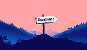 Excellence sign in nature pointing the way to become excellent