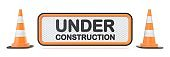 Under construction sign with two traffic cones 3D