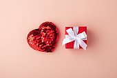 Glitter heart and red gift box, valentines day