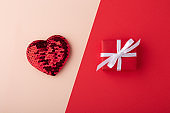 Glitter heart and gift box, valentines day