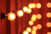 hanging yellow bokeh or blur light bulb on red wall