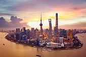 Sunset and  Cityscape of Shanghai, China city skyline