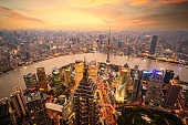 Shanghai skyline city scape, Shanghai luajiazui finance and business district