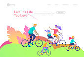 Landing page template with people riding bicycles, man waving his hand, mother riding bicycles with child. People cycling outdoor activities concept at park, healty life style. Cartoon