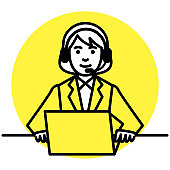 Call center operator. woman using headset and laptop computer. Vector illustration.