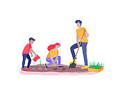 Collection of family hobby activities . Mother, father and children teach daughter to gardening and plant sprouts. Cartoon