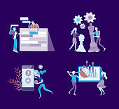 office concept business people for project management, business, workflow and consulting. Modern vector illustration flat concepts character for website and mobile website