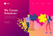 Vector character business people with infographic of puzzle have solution. Goal thinking. Cooperation by group to create a team. Concept for web design Colorful flat concept