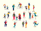 Back to school cartoon people set. Preteen and teenage schoolkids. Parents with kids characters going to school on white background