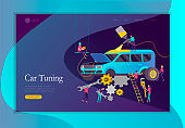 Landing page template car service having their repaired, people paint car, change wheels, automobile repair shop, vehicle service concept. Vector flat style