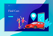 Landing page template mobile city transportation, online car sharing with cartoon family people character and smartphone, online carsharing. Vector flat style