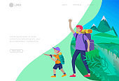 Landing page template with People group running, man playing tennis, girl doing yoga. Father with son are hiking. Family performing sports outdoor activities at park or Nature. Cartoon