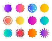 Price sticker. Promo badge starburst. Shape of star for callout, label. Round icons for sale. Circles for button, tag. Zigzag edge on promotion banner. Gradient color coupon. Speech balloons. Vector