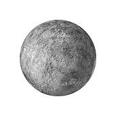 3d render of the moon isolated on white background