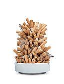 Ashtray full of cigarettes isolated on white background