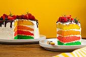 Rainbow birthday cake with fresh berries on yellow background.