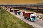 Column of trucks on the road