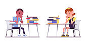 School boy and girl at desk tired with study