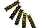 DDR SDRAM memory modules isolated on black. DDR chip combined on a module chipset for desktop PCs. Cut out image