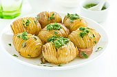 baked potato accordion with parsley.