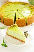 Pistachio Cheesecake. Homemade baking. Selective focus