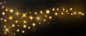 Sparkly light. Gold stars glitter on transparent black background. Glowing effect dust. Stars shiny wave style. Magic golden color elements for your graphics. Vector illustration.