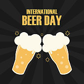 Happy international beer day poster background vector illustration in flat style greeting card retro graphic of beer day celebration vintage design friday party