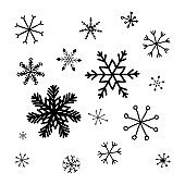 Snowflake black doodle icons. Design ice crystal drawing the hand scribble isolated on white background. Elements cartoon style for decoration. Vector illustration.