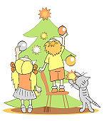 Children and cat decorating Christmas Tree. Vector cartoon illustration.