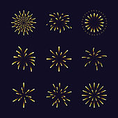 Set of gold color fireworks in different style. Design element for new year festivals and celebrations. Vector illustration.